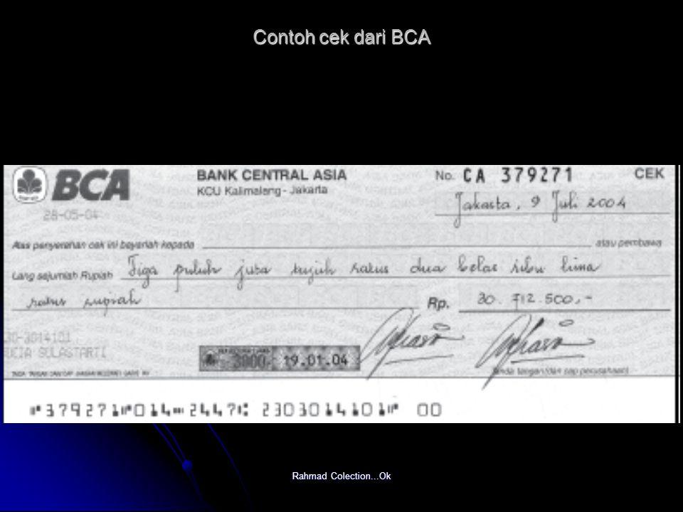 Rahmad Colection...Ok Contoh cek dari BCA