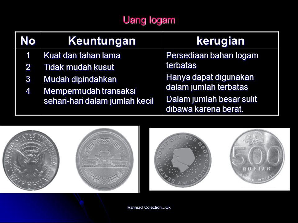 Rahmad Colection...Ok Uang logam NoKeuntungankerugian 1234 Kuat dan tahan lama Tidak mudah kusut Mudah dipindahkan Mempermudah transaksi sehari-hari d