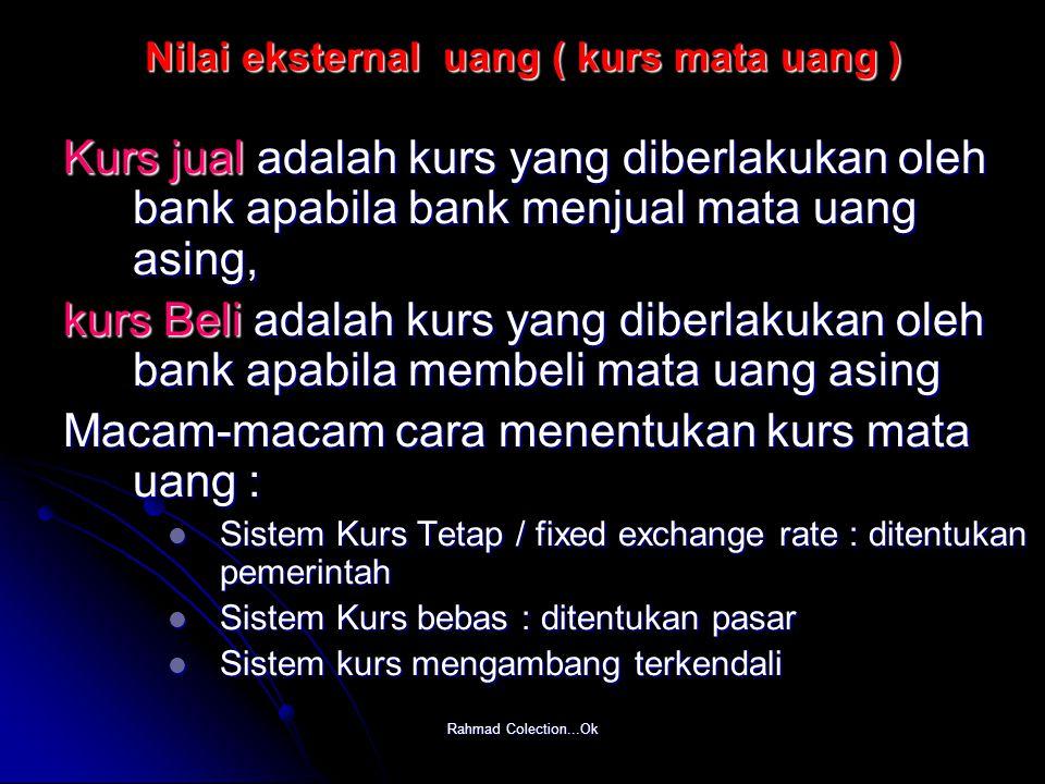 Rahmad Colection...Ok Nilai eksternal uang ( kurs mata uang ) Kurs jual adalah kurs yang diberlakukan oleh bank apabila bank menjual mata uang asing,