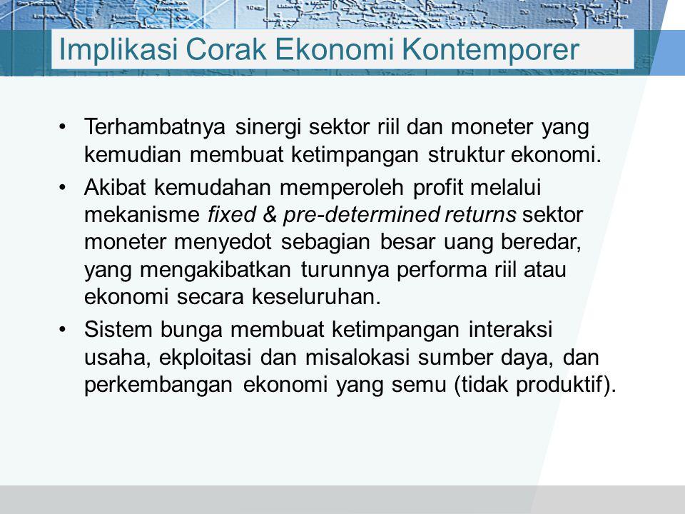 BUNGA Corak Ekonomi Kontemporer Uang Sebagai Alat Tukar Uang Sebagai Komoditi Kredit & Spekulasi Pasar Moneter: Uang, Modal, Obligasi, Derivative Cora
