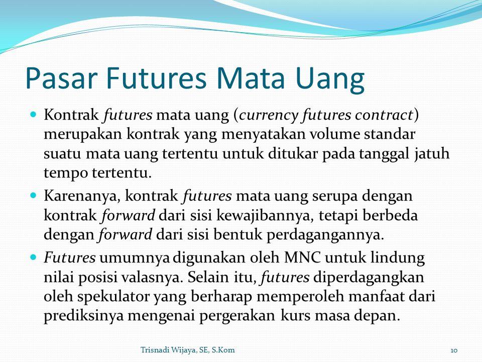 Pasar Futures Mata Uang Kontrak futures mata uang (currency futures contract) merupakan kontrak yang menyatakan volume standar suatu mata uang tertentu untuk ditukar pada tanggal jatuh tempo tertentu.