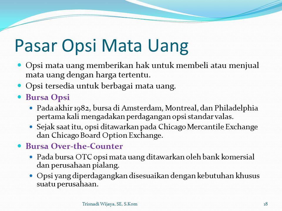 Pasar Opsi Mata Uang Opsi mata uang memberikan hak untuk membeli atau menjual mata uang dengan harga tertentu.