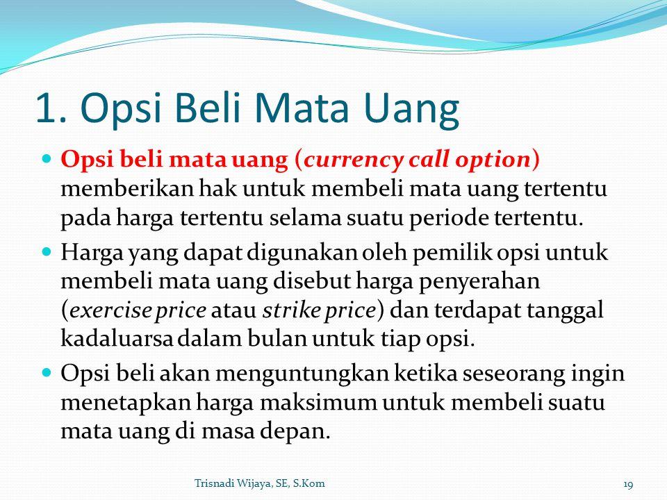 1. Opsi Beli Mata Uang Opsi beli mata uang (currency call option) memberikan hak untuk membeli mata uang tertentu pada harga tertentu selama suatu per