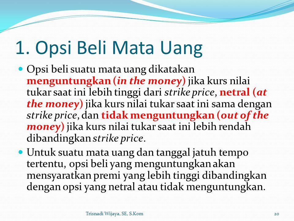 1. Opsi Beli Mata Uang Opsi beli suatu mata uang dikatakan menguntungkan (in the money) jika kurs nilai tukar saat ini lebih tinggi dari strike price,