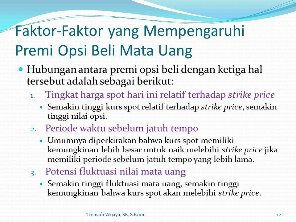 Faktor-Faktor yang Mempengaruhi Premi Opsi Beli Mata Uang Hubungan antara premi opsi beli dengan ketiga hal tersebut adalah sebagai berikut: 1.