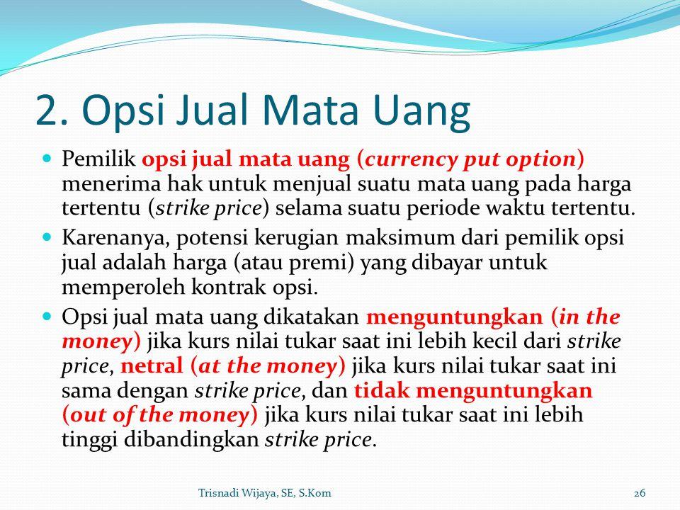 2. Opsi Jual Mata Uang Pemilik opsi jual mata uang (currency put option) menerima hak untuk menjual suatu mata uang pada harga tertentu (strike price)