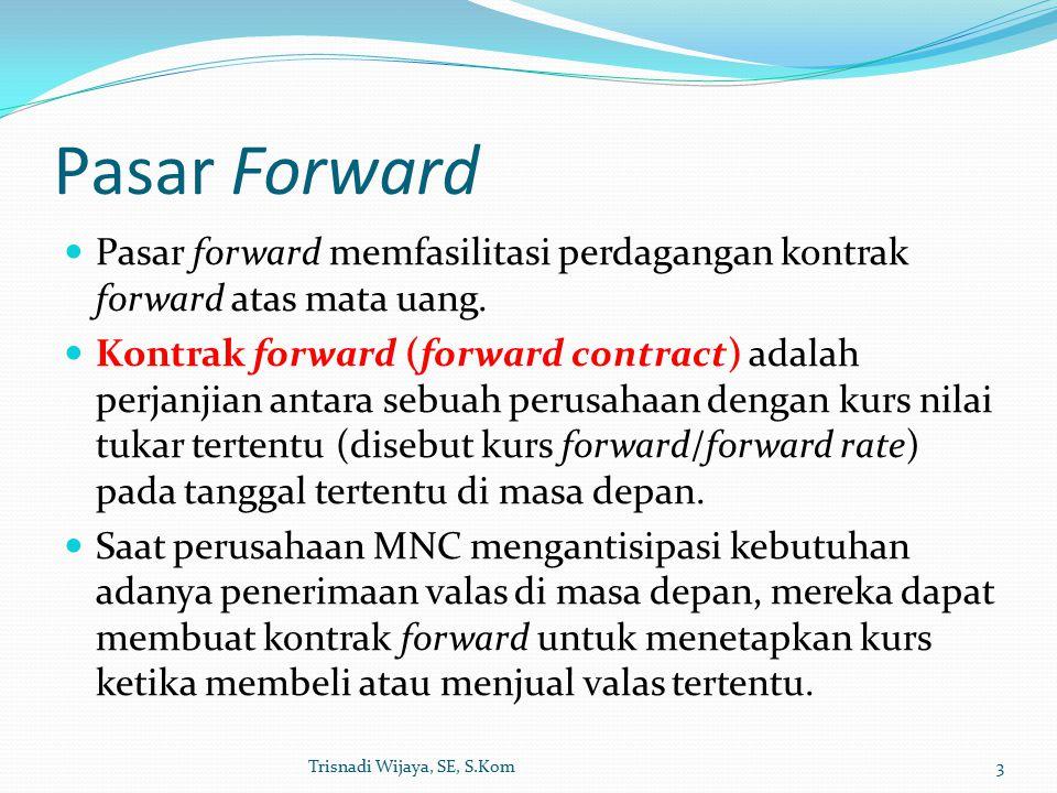 Pasar Forward Pasar forward memfasilitasi perdagangan kontrak forward atas mata uang.