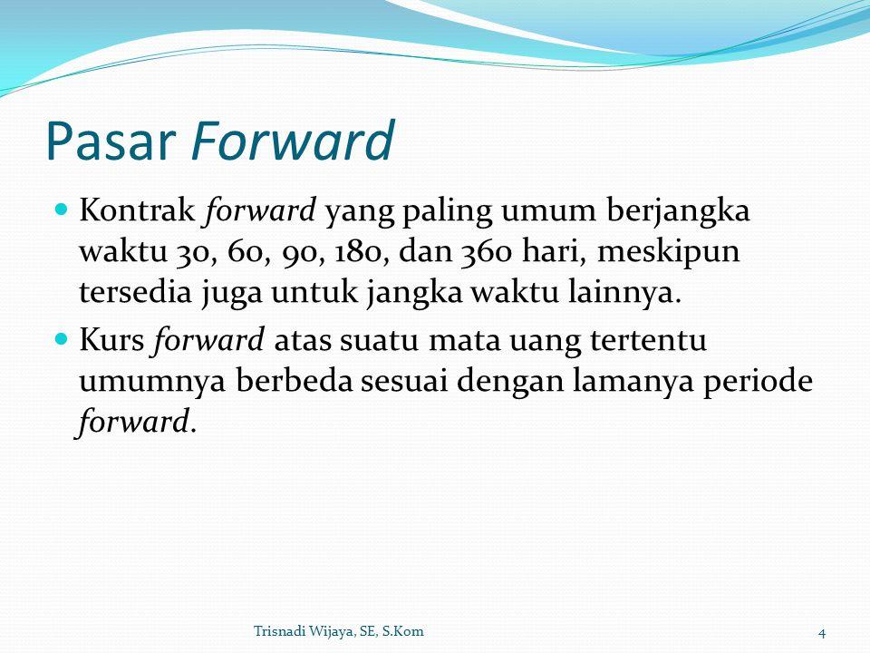 Pasar Forward Kontrak forward yang paling umum berjangka waktu 30, 60, 90, 180, dan 360 hari, meskipun tersedia juga untuk jangka waktu lainnya.