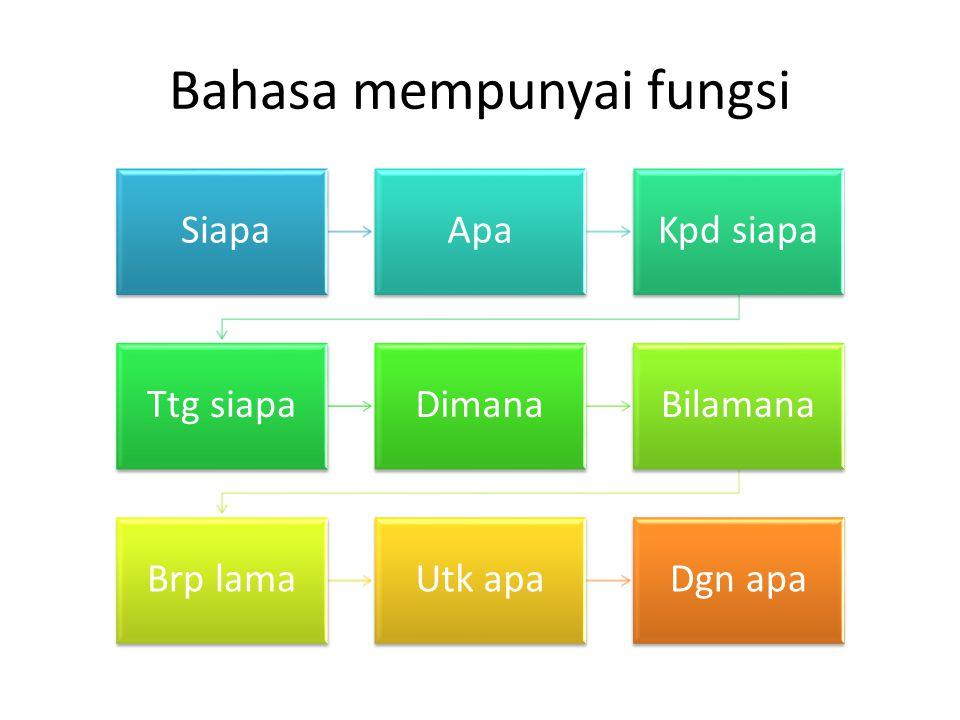 Bahasa mempunyai fungsi SiapaApaKpd siapa Ttg siapaDimanaBilamana Brp lamaUtk apaDgn apa