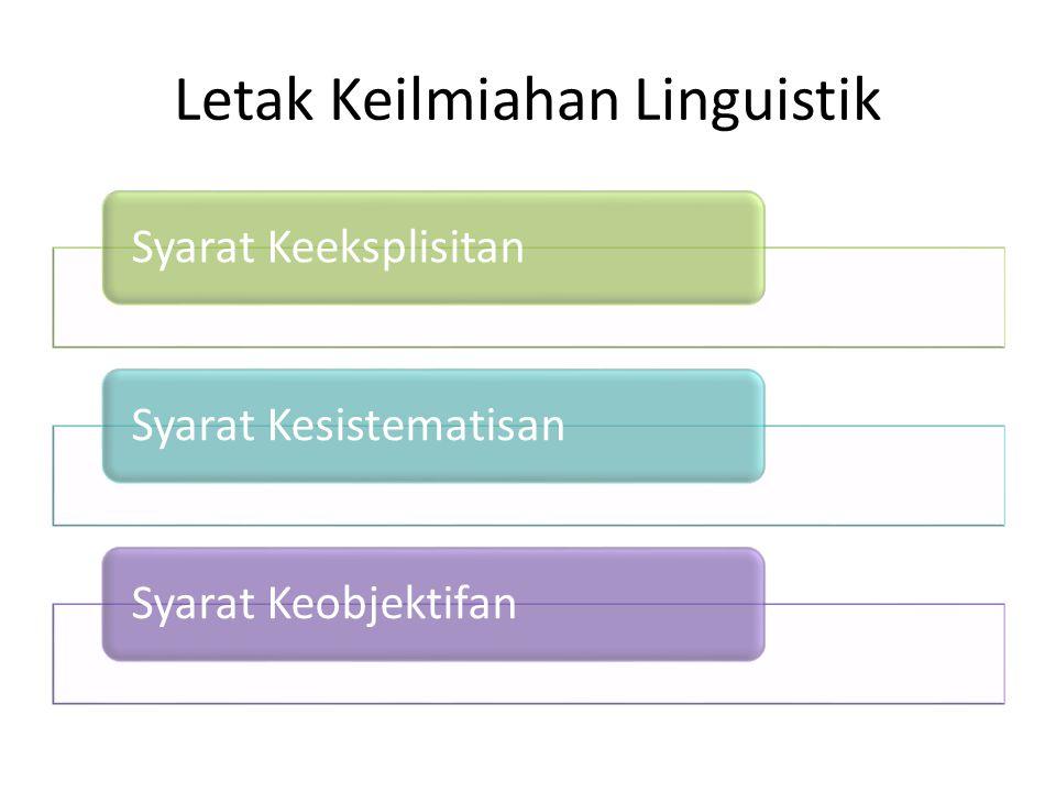 Letak Keilmiahan Linguistik Syarat KeeksplisitanSyarat KesistematisanSyarat Keobjektifan