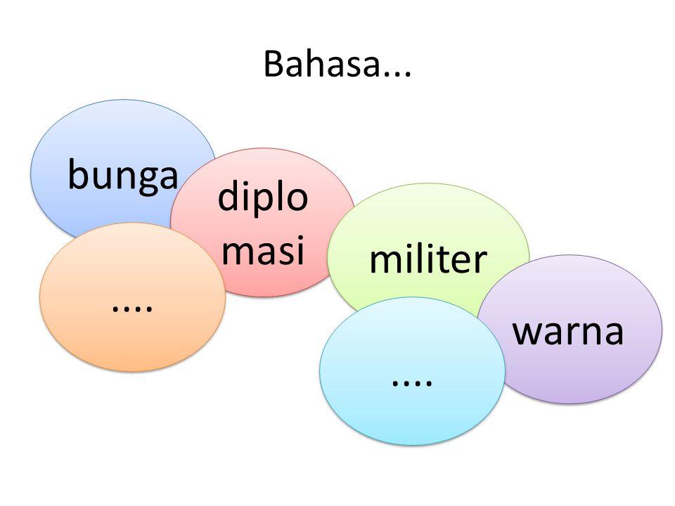 Bahasa... bunga diplo masi militer warna....
