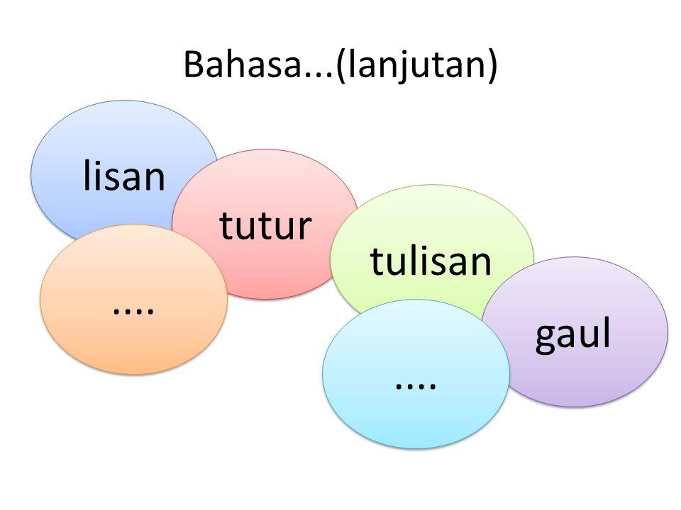 Bahasa...(lanjutan) lisan tutur tulisan gaul....