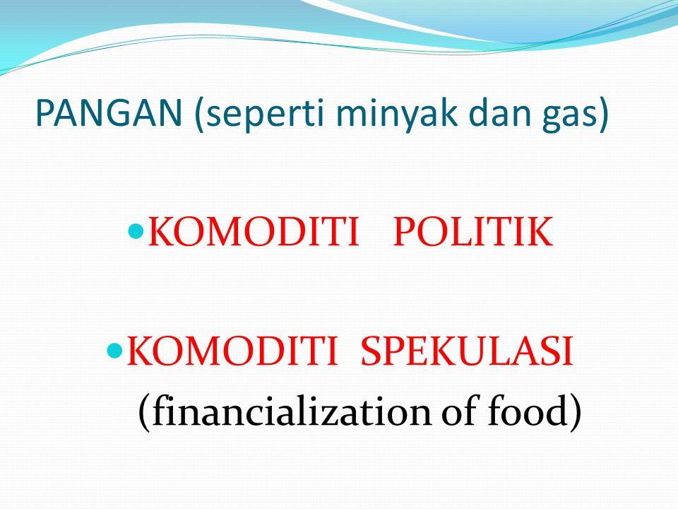 PANGAN (seperti minyak dan gas) KOMODITI POLITIK KOMODITI SPEKULASI (financialization of food)