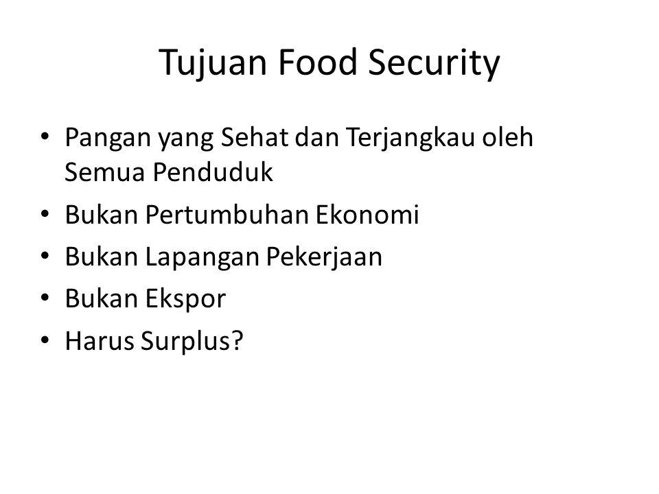 Tujuan Food Security Pangan yang Sehat dan Terjangkau oleh Semua Penduduk Bukan Pertumbuhan Ekonomi Bukan Lapangan Pekerjaan Bukan Ekspor Harus Surplus?