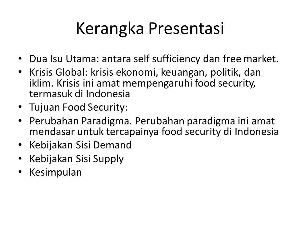 Kerangka Presentasi Dua Isu Utama: antara self sufficiency dan free market. Krisis Global: krisis ekonomi, keuangan, politik, dan iklim. Krisis ini am