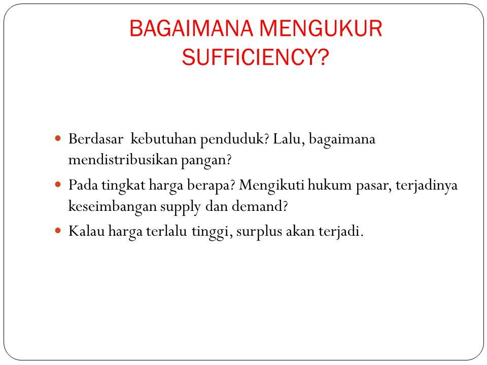 BAGAIMANA MENGUKUR SUFFICIENCY? Berdasar kebutuhan penduduk? Lalu, bagaimana mendistribusikan pangan? Pada tingkat harga berapa? Mengikuti hukum pasar
