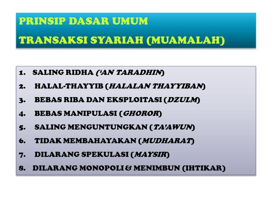 1.SALING RIDHA ('AN TARADHIN) 2.HALAL-THAYYIB (HALALAN THAYYIBAN) 3.