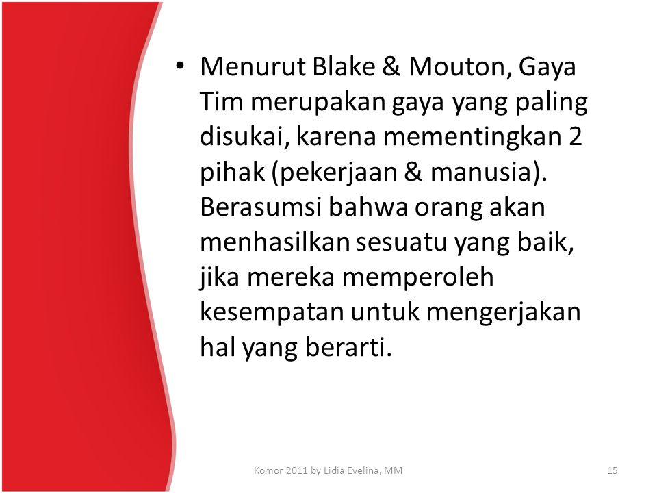 Menurut Blake & Mouton, Gaya Tim merupakan gaya yang paling disukai, karena mementingkan 2 pihak (pekerjaan & manusia). Berasumsi bahwa orang akan men
