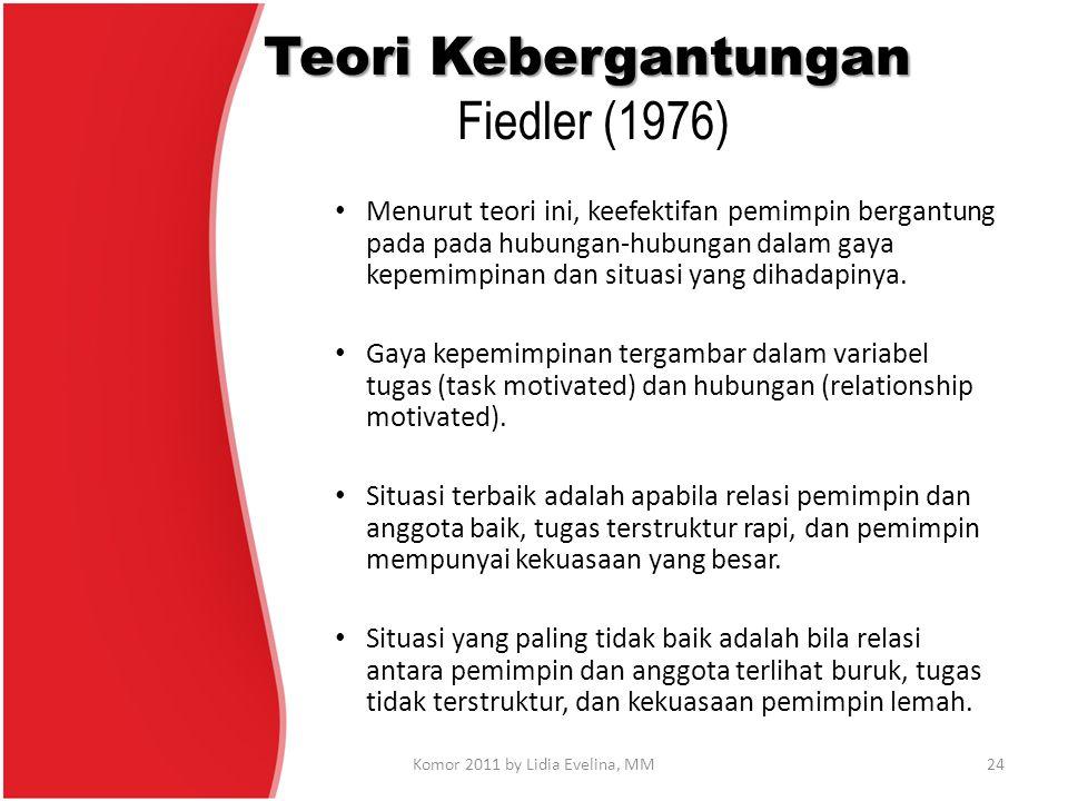 Teori Kebergantungan Teori Kebergantungan Fiedler (1976) Menurut teori ini, keefektifan pemimpin bergantung pada pada hubungan-hubungan dalam gaya kep