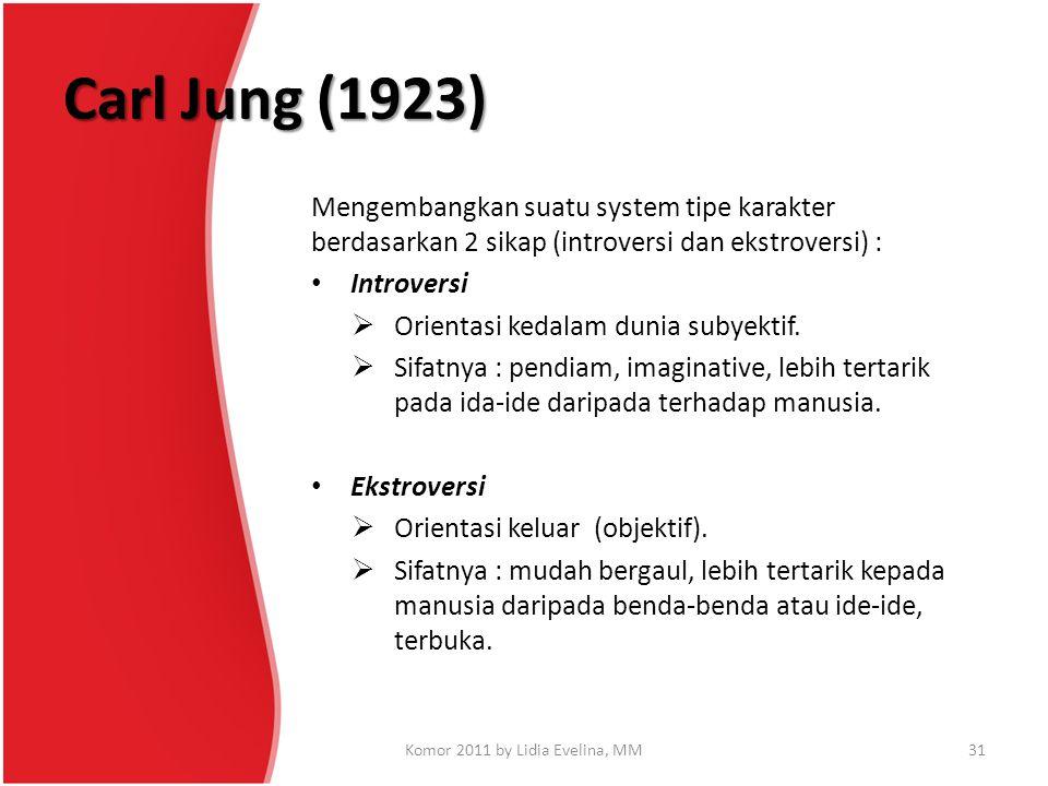 Carl Jung (1923) Mengembangkan suatu system tipe karakter berdasarkan 2 sikap (introversi dan ekstroversi) : Introversi  Orientasi kedalam dunia suby