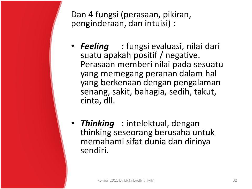 Dan 4 fungsi (perasaan, pikiran, penginderaan, dan intuisi) : Feeling: fungsi evaluasi, nilai dari suatu apakah positif / negative. Perasaan memberi n