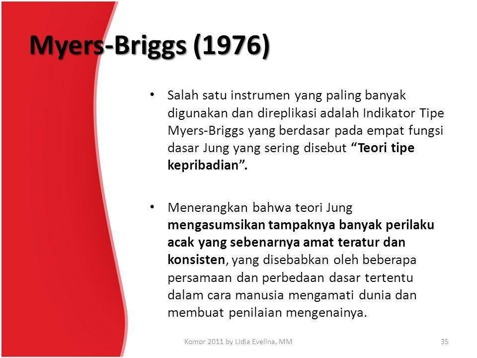 Myers-Briggs (1976) Salah satu instrumen yang paling banyak digunakan dan direplikasi adalah Indikator Tipe Myers-Briggs yang berdasar pada empat fung