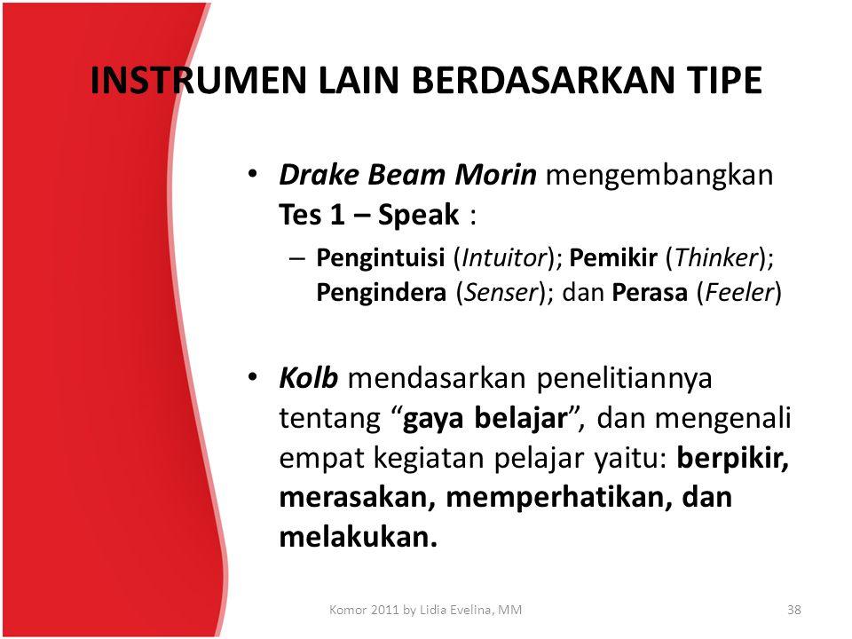INSTRUMEN LAIN BERDASARKAN TIPE Drake Beam Morin mengembangkan Tes 1 – Speak : – Pengintuisi (Intuitor); Pemikir (Thinker); Pengindera (Senser); dan P