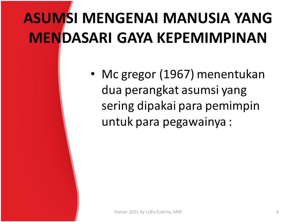 ASUMSI MENGENAI MANUSIA YANG MENDASARI GAYA KEPEMIMPINAN Mc gregor (1967) menentukan dua perangkat asumsi yang sering dipakai para pemimpin untuk para
