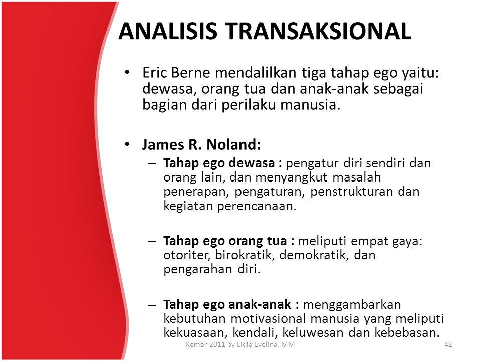 ANALISIS TRANSAKSIONAL Eric Berne mendalilkan tiga tahap ego yaitu: dewasa, orang tua dan anak-anak sebagai bagian dari perilaku manusia. James R. Nol