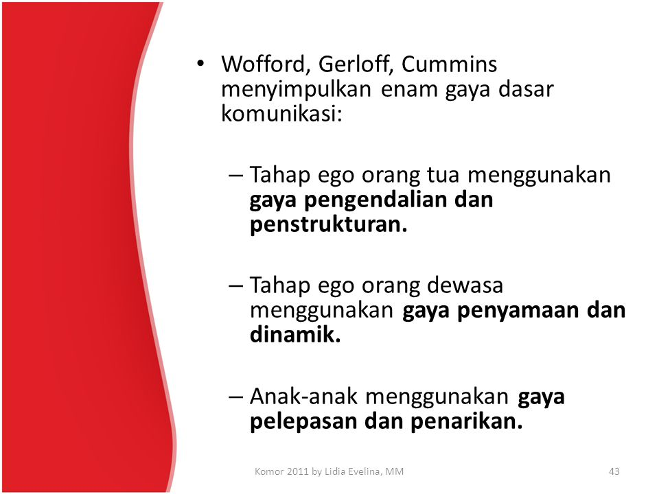Wofford, Gerloff, Cummins menyimpulkan enam gaya dasar komunikasi: – Tahap ego orang tua menggunakan gaya pengendalian dan penstrukturan. – Tahap ego