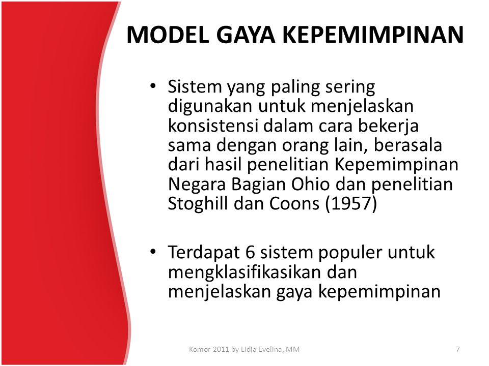 MODEL GAYA KEPEMIMPINAN Sistem yang paling sering digunakan untuk menjelaskan konsistensi dalam cara bekerja sama dengan orang lain, berasala dari has