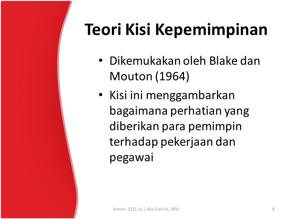 Teori Kisi Kepemimpinan Dikemukakan oleh Blake dan Mouton (1964) Kisi ini menggambarkan bagaimana perhatian yang diberikan para pemimpin terhadap peke