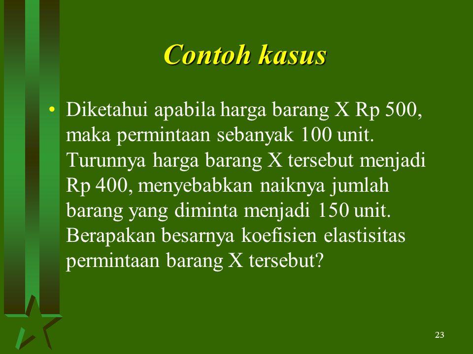 23 Contoh kasus Diketahui apabila harga barang X Rp 500, maka permintaan sebanyak 100 unit.