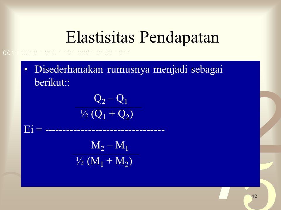 42 Elastisitas Pendapatan Disederhanakan rumusnya menjadi sebagai berikut:: Q 2 – Q 1 ½ (Q 1 + Q 2 ) Ei = --------------------------------- M 2 – M 1 ½ (M 1 + M 2 )