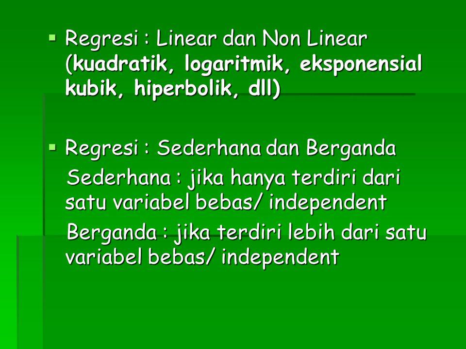  Regresi : Linear dan Non Linear (kuadratik, logaritmik, eksponensial kubik, hiperbolik, dll)  Regresi : Sederhana dan Berganda Sederhana : jika han