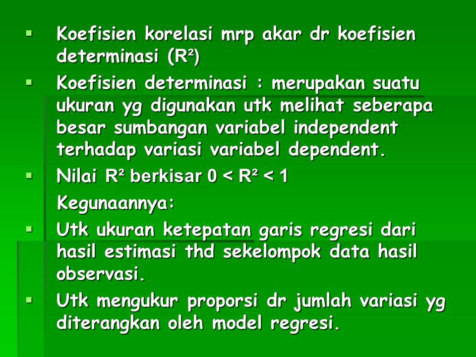  Koefisien korelasi mrp akar dr koefisien determinasi ( R²)  Koefisien determinasi : merupakan suatu ukuran yg digunakan utk melihat seberapa besar
