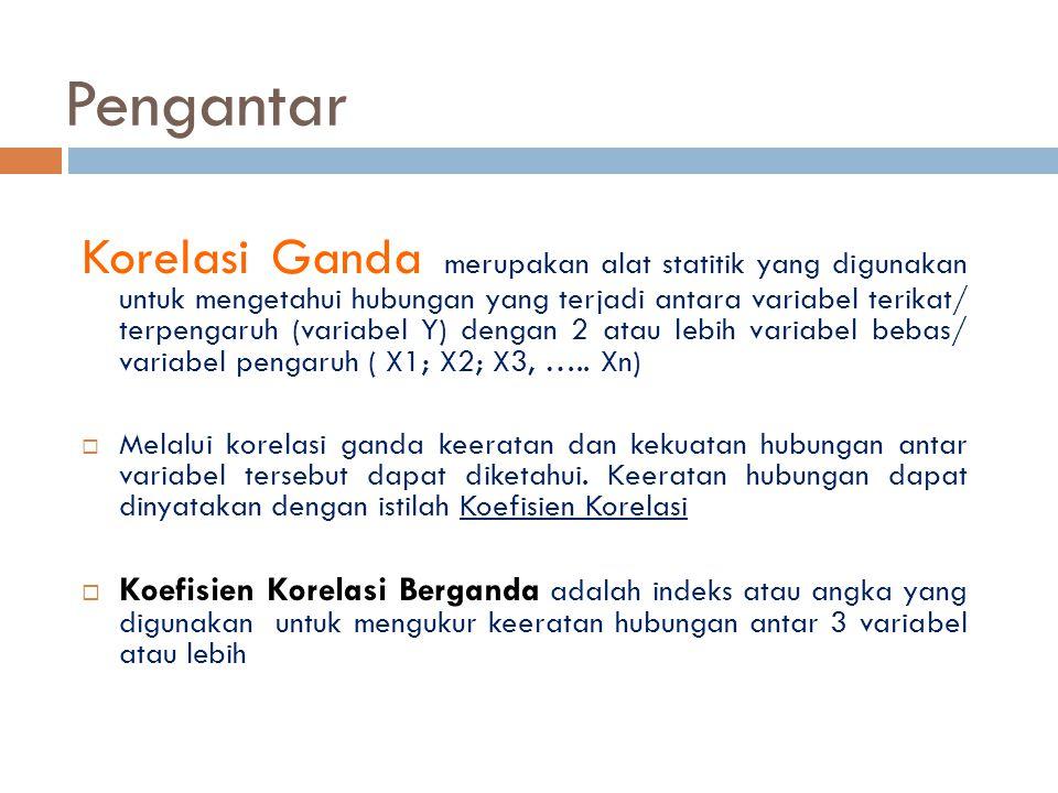 Pengantar Korelasi Ganda merupakan alat statitik yang digunakan untuk mengetahui hubungan yang terjadi antara variabel terikat/ terpengaruh (variabel