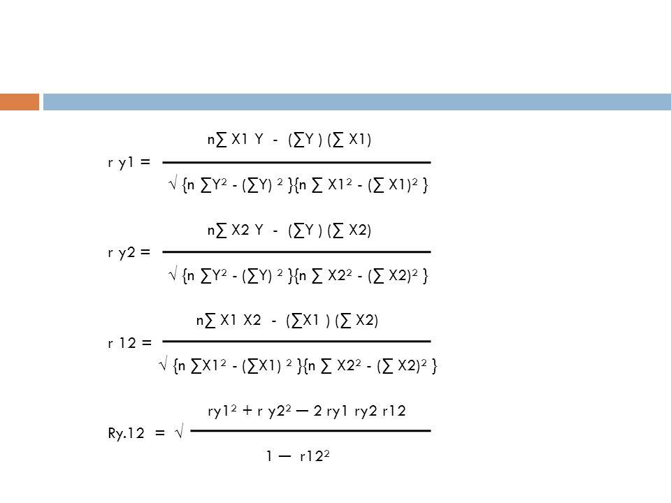 n∑ X1 Y - (∑Y ) (∑ X1) r y1 = √ {n ∑Y² - (∑Y) ² }{n ∑ X1² - (∑ X1)² } n∑ X2 Y - (∑Y ) (∑ X2) r y2 = √ {n ∑Y² - (∑Y) ² }{n ∑ X2² - (∑ X2)² } n∑ X1 X2 -