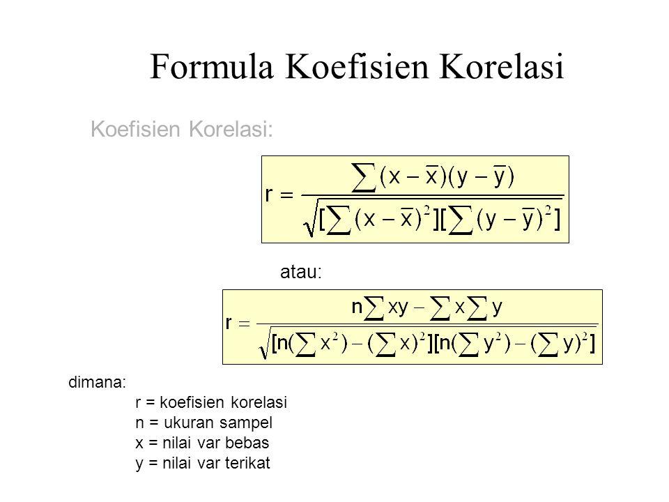 Formula Koefisien Korelasi dimana: r = koefisien korelasi n = ukuran sampel x = nilai var bebas y = nilai var terikat Koefisien Korelasi: atau: