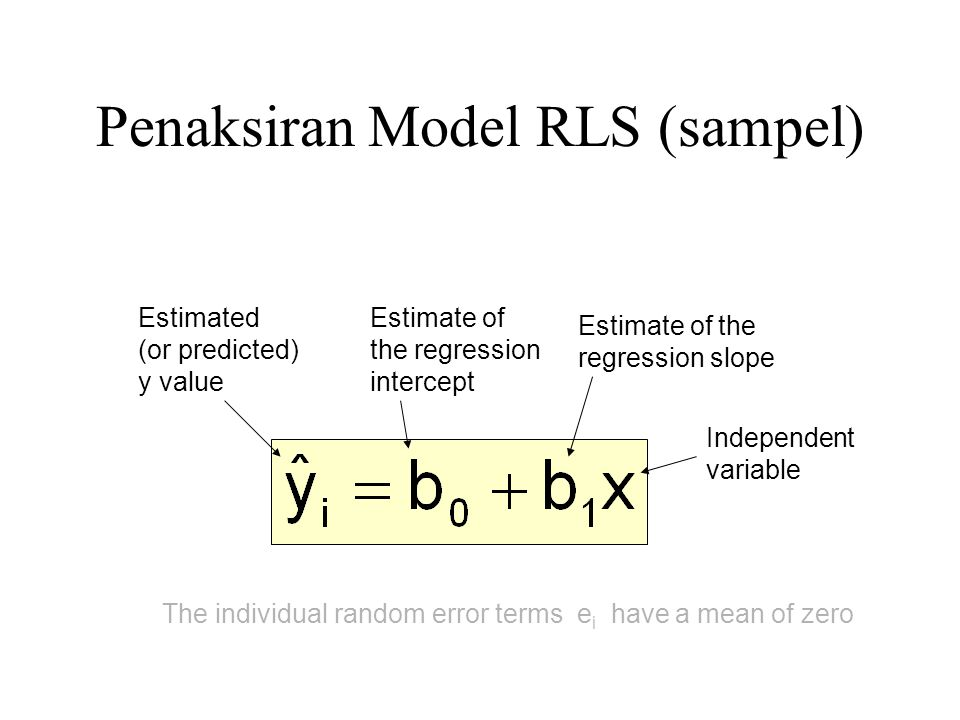 Penaksiran Model RLS (sampel) Estimate of the regression intercept Estimate of the regression slope Estimated (or predicted) y value Independent varia