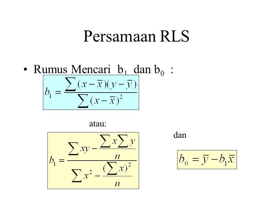 Persamaan RLS Rumus Mencari b 1 dan b 0 : atau: dan