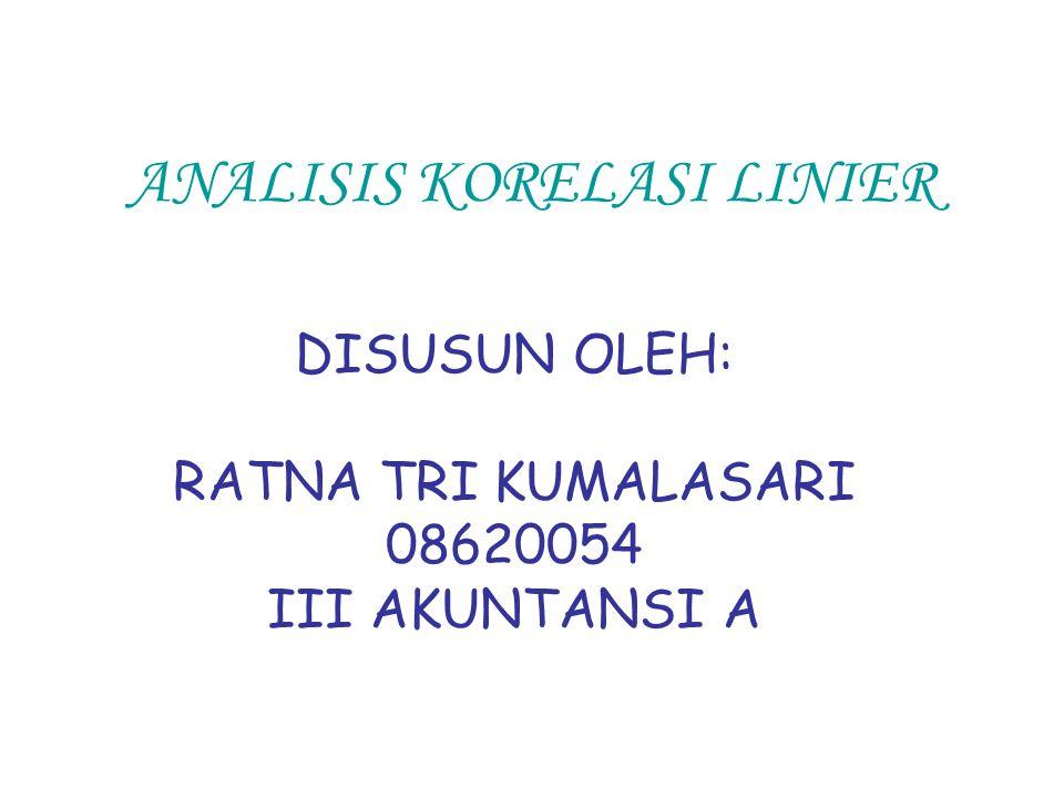 ANALISIS KORELASI LINIER DISUSUN OLEH: RATNA TRI KUMALASARI 08620054 III AKUNTANSI A
