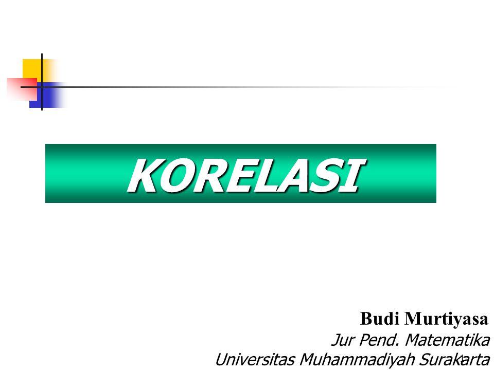 1 KORELASI Budi Murtiyasa Jur Pend. Matematika Universitas Muhammadiyah Surakarta