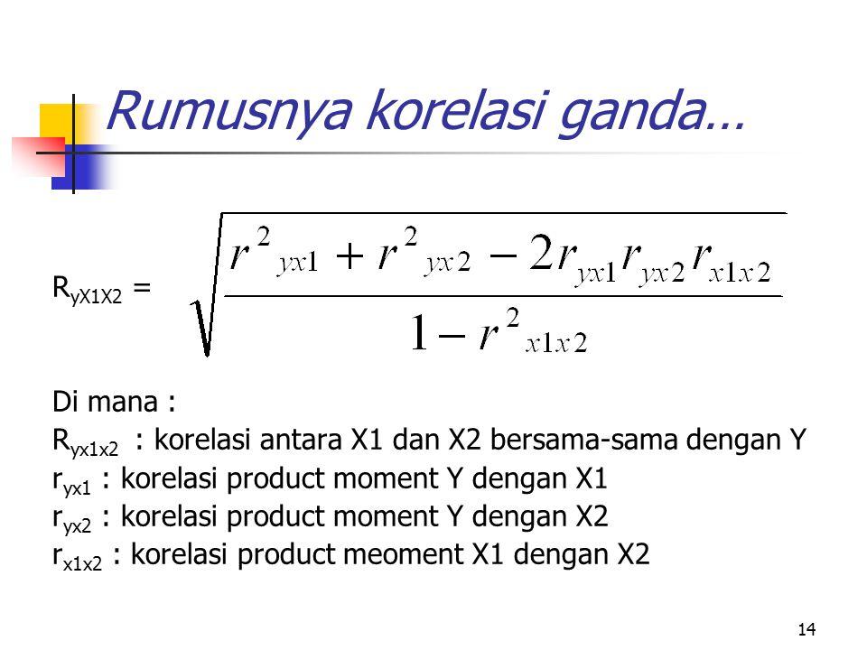 14 Rumusnya korelasi ganda… R yX1X2 = Di mana : R yx1x2 : korelasi antara X1 dan X2 bersama-sama dengan Y r yx1 : korelasi product moment Y dengan X1