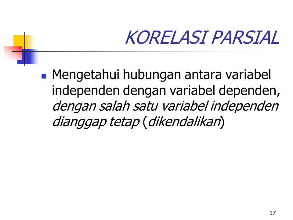 17 KORELASI PARSIAL Mengetahui hubungan antara variabel independen dengan variabel dependen, dengan salah satu variabel independen dianggap tetap (dik