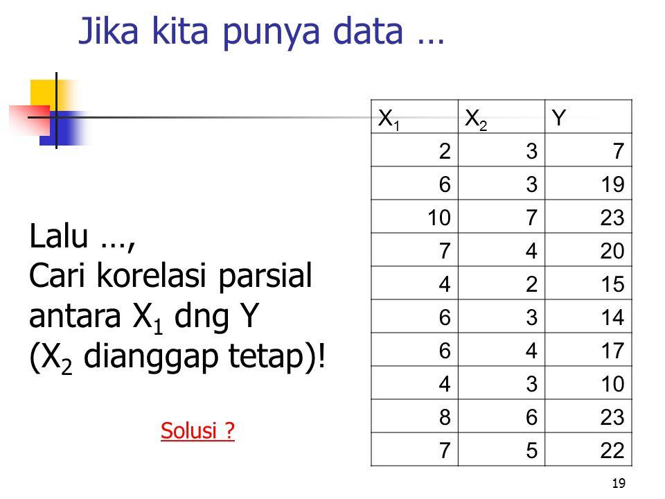 19 Jika kita punya data … X1X1 X2X2 Y 237 6319 10723 7420 4215 6314 6417 4310 8623 7522 Lalu …, Cari korelasi parsial antara X 1 dng Y (X 2 dianggap t