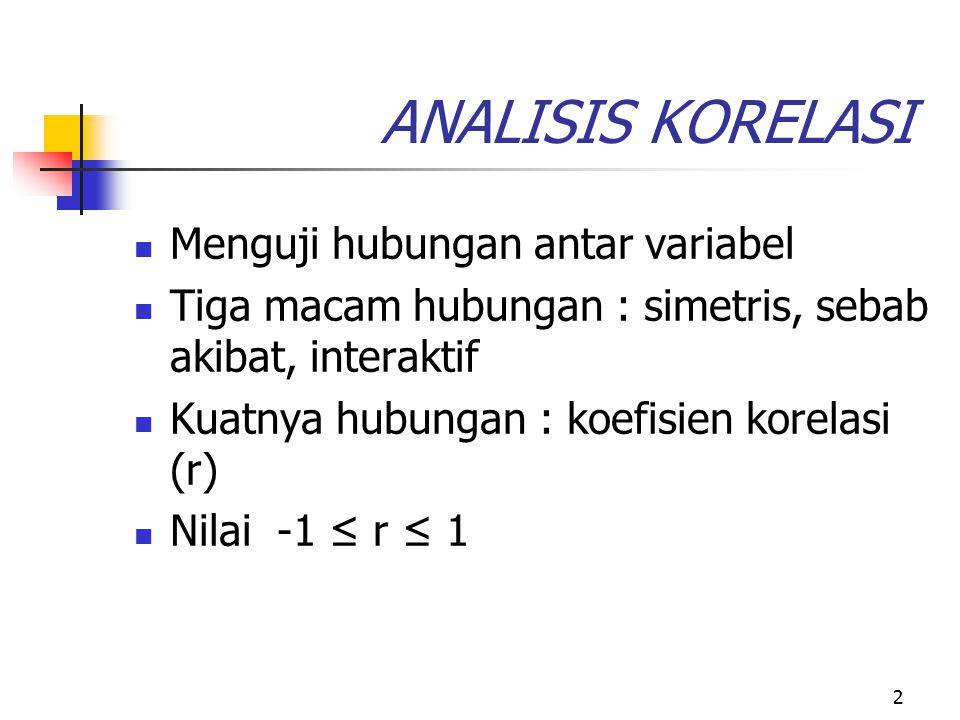 2 ANALISIS KORELASI Menguji hubungan antar variabel Tiga macam hubungan : simetris, sebab akibat, interaktif Kuatnya hubungan : koefisien korelasi (r)