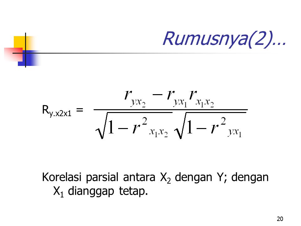 20 Rumusnya(2)… R y.x2x1 = Korelasi parsial antara X 2 dengan Y; dengan X 1 dianggap tetap.