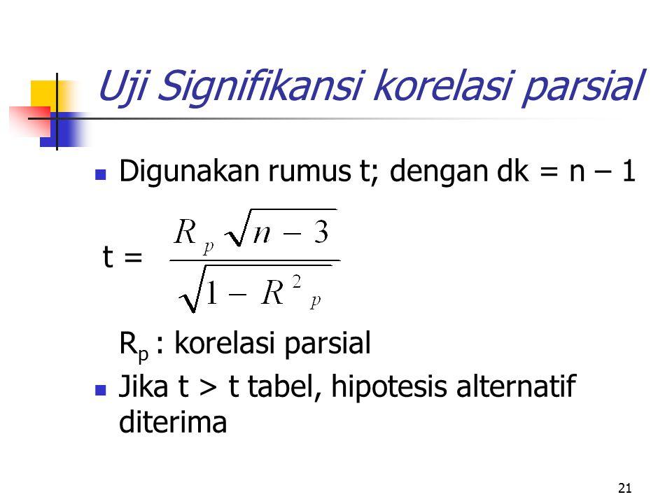 21 Uji Signifikansi korelasi parsial Digunakan rumus t; dengan dk = n – 1 t = R p : korelasi parsial Jika t > t tabel, hipotesis alternatif diterima