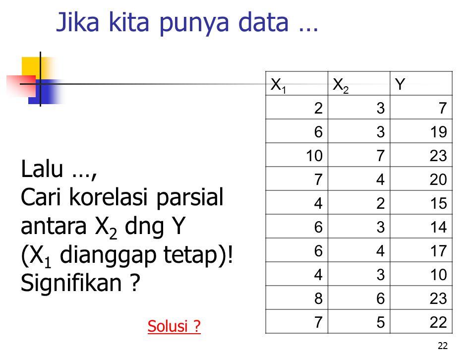22 Jika kita punya data … X1X1 X2X2 Y 237 6319 10723 7420 4215 6314 6417 4310 8623 7522 Lalu …, Cari korelasi parsial antara X 2 dng Y (X 1 dianggap t